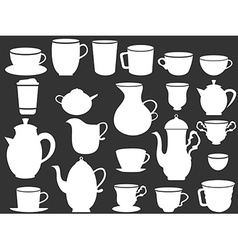 white coffee and tea cups silhouettes vector image vector image