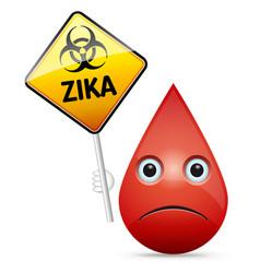 zika virus - biohazard warning sign vector image vector image