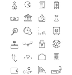 black finance icons set vector image