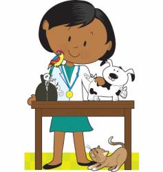 black woman vet and pets vector image vector image