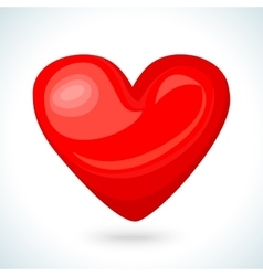 Cute shiny red heart icon isolated on white vector image vector image