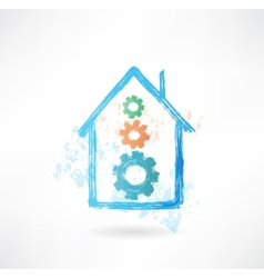 house mechanism grunge icon vector image vector image