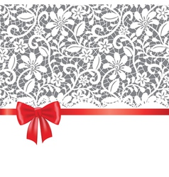 lace red ribbon and bow vector image vector image