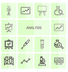 14 analysis icons vector