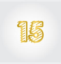 15 years anniversary gold line design logo vector