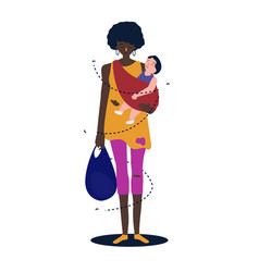 African mother the baby is hugging her to make her vector