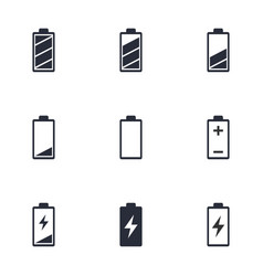 battery life icon set battery charge indicator vector image