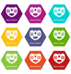 block tandem icons set 9 vector image
