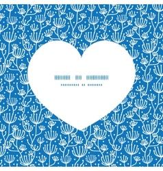 Blue white lineart plants heart silhouette pattern vector
