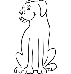 boxer dog cartoon for coloring book vector image
