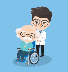 Boy doctor is taking care old man patients vector