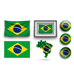brazilia flags collection isolated on white vector image