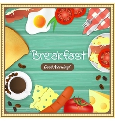 Breakfast table with fried egg sausage bacon vector image