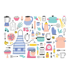 Bundle of kitchen utensils manual and electric vector