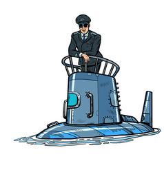 Captain a submarine army naval ship vector