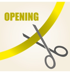 Celebration of opening something with scissors and vector