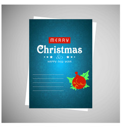 christmas card with blue pattern background vector image