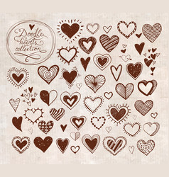 Collection of doodle sketch hearts hand drawn with vector