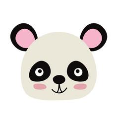 Colorful happy panda head wild animal vector