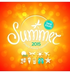 Colorful lettering summer and white icons vector