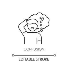 Confusion pixel perfect linear icon vector