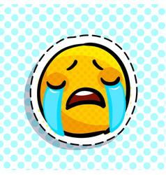 Crying sad emoticon vector