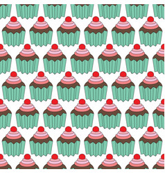 Cupcakes seamles pattern vector