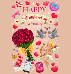 cupid love hearts and flowers valentines day vector image