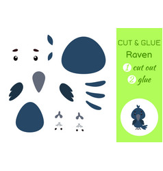 cut and glue paper little raven kids crafts vector image