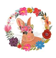 Cute card with lovely Rabbit with flowers Rabbit vector image