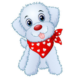 cute cartoon puppy wearing a red scarf vector image