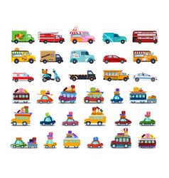 cute city transport set colorful childish cars vector image