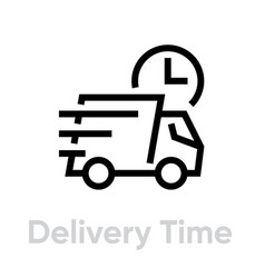 Delivery time truck icon editable line vector