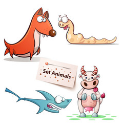 dog worm shark cow - set animals vector image