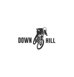 downhill bike silhouette vector image