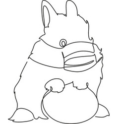 easter bunny continuous one line drawing easter vector image