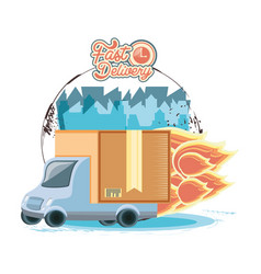 fast delivery service with truck travel vector image