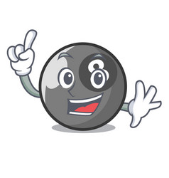 Finger billiard ball mascot cartoon vector