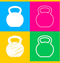 Fitness dumbbell sign four styles of icon on four vector