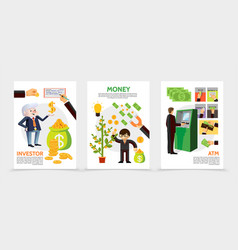 flat finance and investment vertical banners vector image
