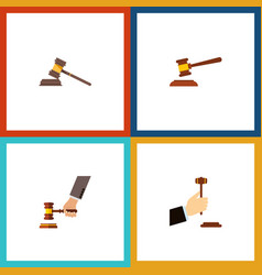 Flat icon lawyer set of court hammer crime and vector
