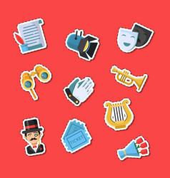 flat theatre icons stickers set vector image