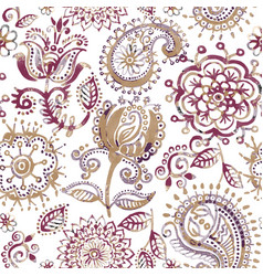 Floral seamless pattern in paisley style abstract vector