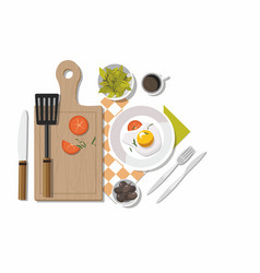 Food coffee fried egg lettuce and olives vector