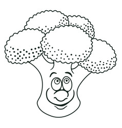 fresh broccoli cartoon vector image