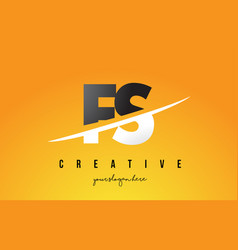 fs f s letter modern logo design with yellow vector image