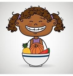 Girl plate fruit vegetables vector
