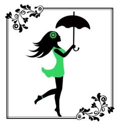 girl with umbrella in a patterned frame vector image
