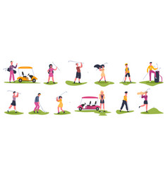golf people scenes male and female golfers vector image