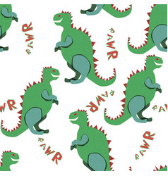 green dinosaurs rawr on the white background vector image